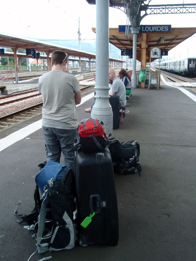 Waiting for train in Lourdes