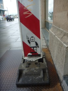Lego man stencil in Geneva