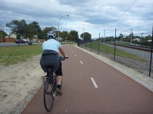 Riding on beautiful bike path
