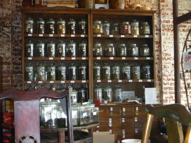 the tea wall at Chapels