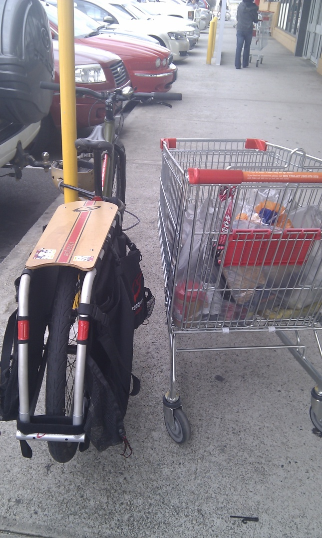xtracycle and shopping trolley